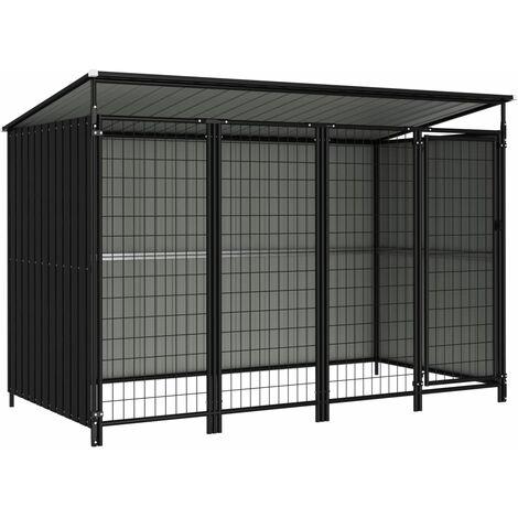 Outdoor Dog Kennel 253x133x164 cm - Grey