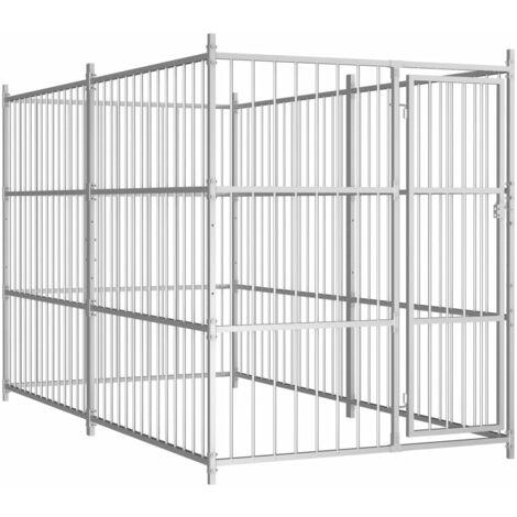 Outdoor Dog Kennel 300x150x185 cm - Silver