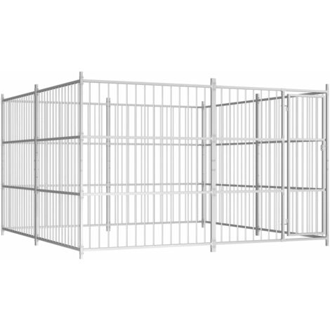 Outdoor Dog Kennel 300x300x185 cm - Silver