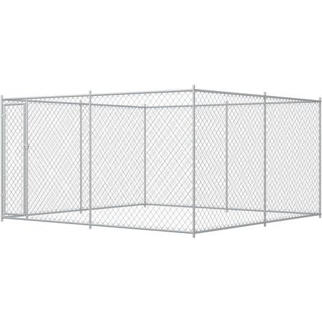 Outdoor Dog Kennel 383x383x185 cm - Silver