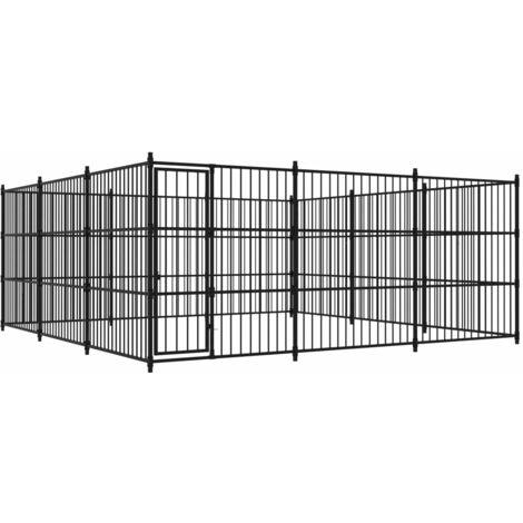 Outdoor Dog Kennel 450x450x185 cm - Black