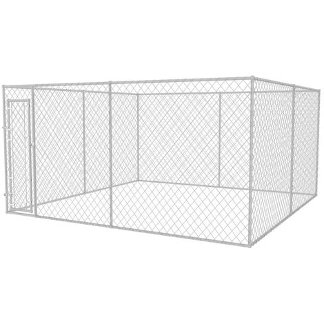 Outdoor Dog Kennel 4x4x2 m - Silver