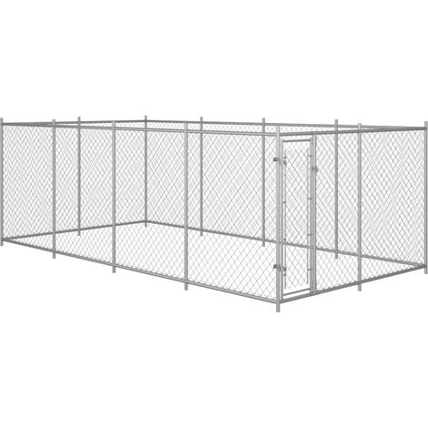 Outdoor Dog Kennel 8x4x2 m - Silver