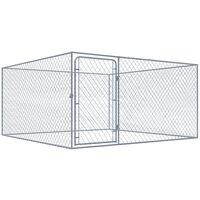 Outdoor Dog Kennel Galvanised Steel 2x2 m