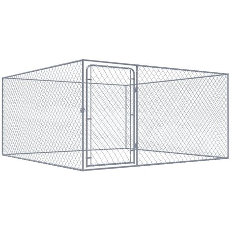 Outdoor Dog Kennel Galvanised Steel 2x2x1 m