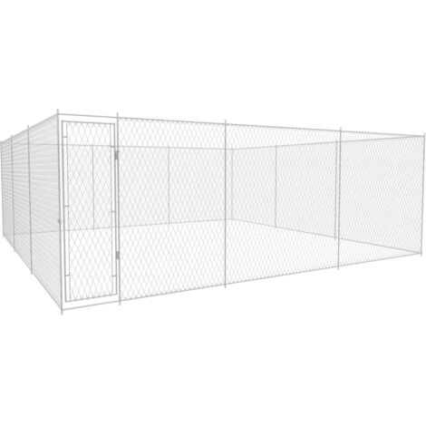 Outdoor Dog Kennel Galvanised Steel 570x570x185 cm