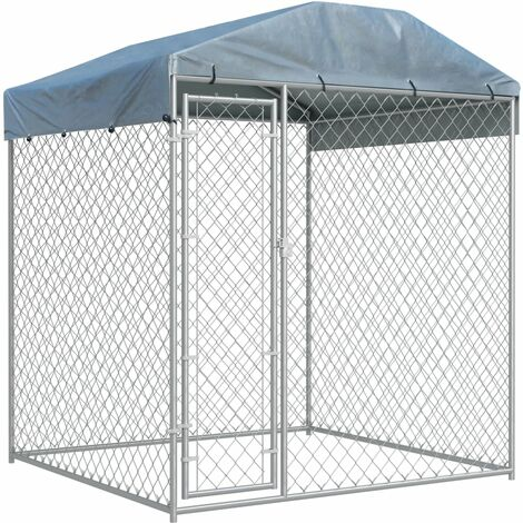 Outdoor Dog Kennel with Canopy Top 193x193x225 cm - Silver