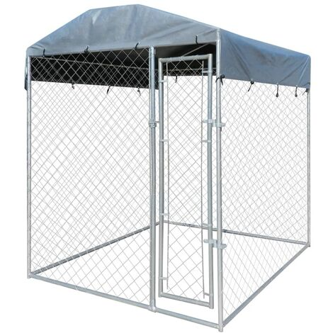 Outdoor Dog Kennel with Canopy Top 2x2x2.4 m