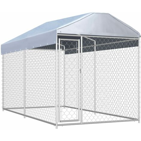 Outdoor Dog Kennel with Canopy Top 382x192x225 cm - Silver