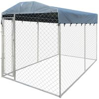 Outdoor Dog Kennel with Canopy Top 4x2 m