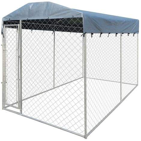 Outdoor Dog Kennel with Canopy Top 4x2x2.4 m