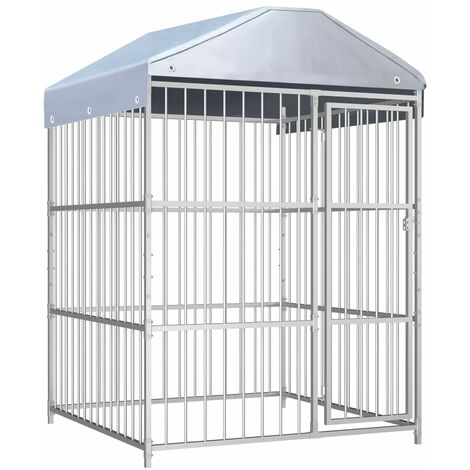 Outdoor Dog Kennel with Roof 150x150x200 cm - Silver