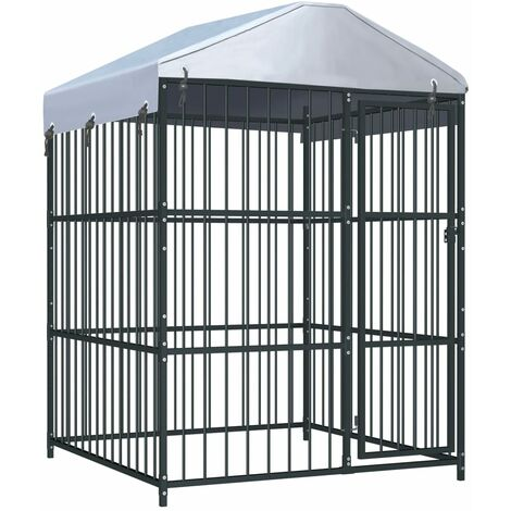 Outdoor Dog Kennel with Roof 150x150x210 cm
