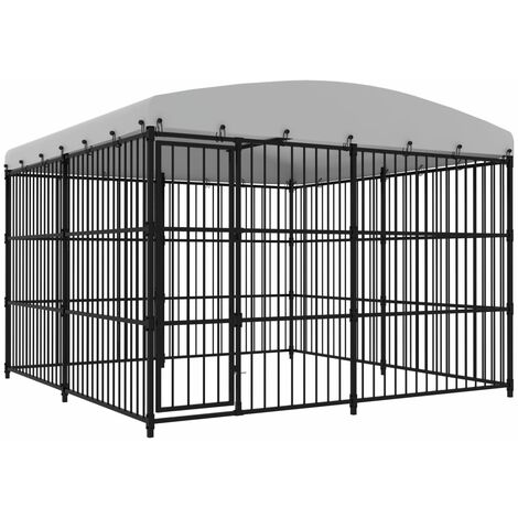 Outdoor Dog Kennel with Roof 300x300x210 cm - Black