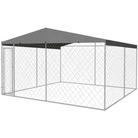 Outdoor Dog Kennel with Roof 4x4 m