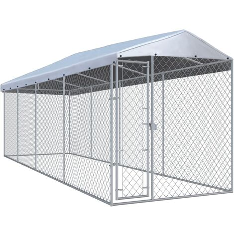 Outdoor Dog Kennel with Roof 7.6x1.9x2.4 m