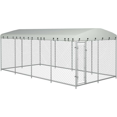 Outdoor Dog Kennel with Roof 8x4x2 m - Silver