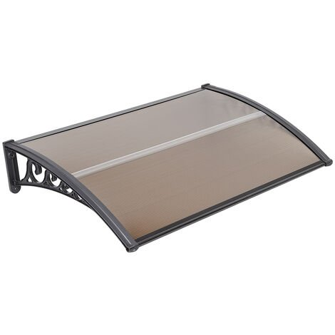 Outdoor Door Canopy Awning, Canopy Transparent, Solid Board 2.5mm, Brown 100 x 150cm