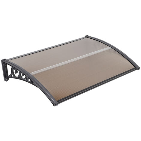 Outdoor Door Canopy Awning, Canopy Transparent, Solid Board 2.5mm, Brown 100 x 200cm