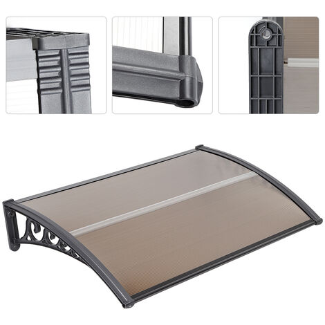 Outdoor Door Canopy Awning, Canopy Transparent, Solid Board 2.5mm, Brown 60 x 100cm
