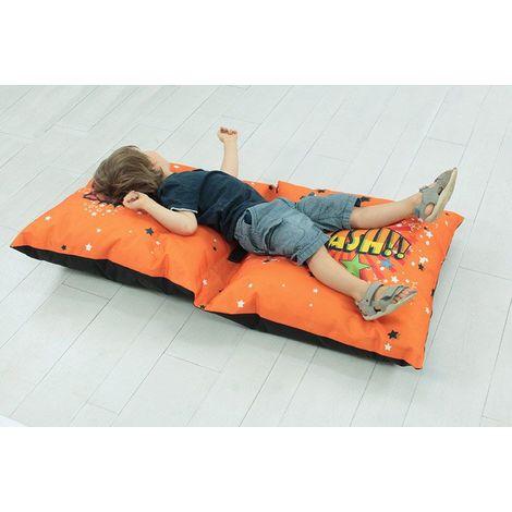 OUTDOOR - Double coussin de sol sur le thème des super héros orange 120x60 - Orange