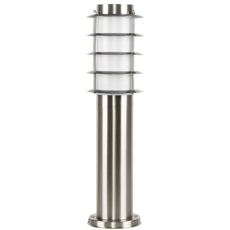 Outdoor Energy Saving Stainless Steel Bollard Lantern Light Post - 450Mm + 13W Es E27 Bulb - Silver