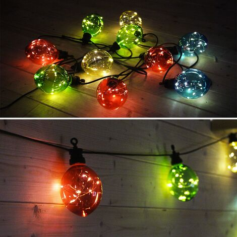 Outdoor fairy lights with 10 light balls, 100 LEDs, battery operated, timer function, 8 modes, 4.5 m long
