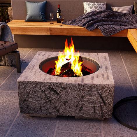 Outdoor Firepit Wood Log Burning Fire Pit Bowl BBQ Grill Brazier Heater Garden