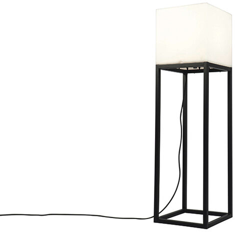 Outdoor floor lamp black IP44 with white shade square - Virginia