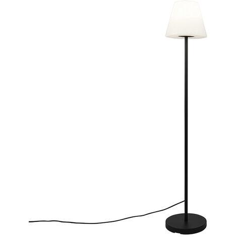 Outdoor floor lamp black with white shade IP65 25 cm - Virginia