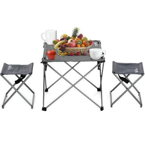 """main image of """"Outdoor Foldable Camping Picnic Tables Portable Compact Lightweight Folding Roll-up Table with 2 Folding Chairs Stools for Travel Beach Picnic Party,model: Table with stools"""""""