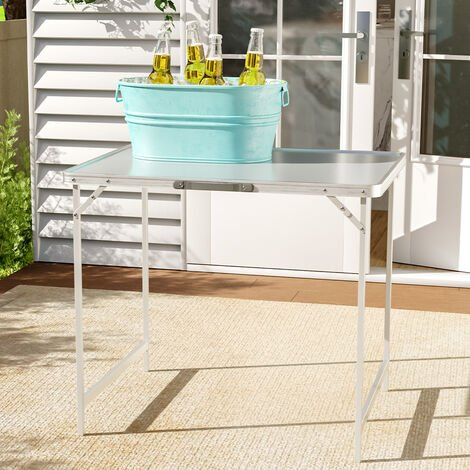 Outdoor Foldable Table Garden Picnic Desk Serving Tray, 80x60x70CM