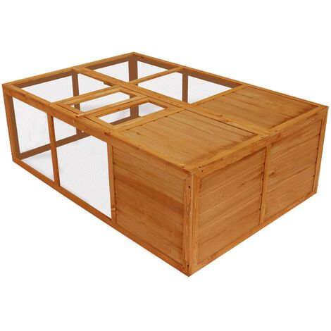 Outdoor Foldable Wooden Animal Cage - Brown