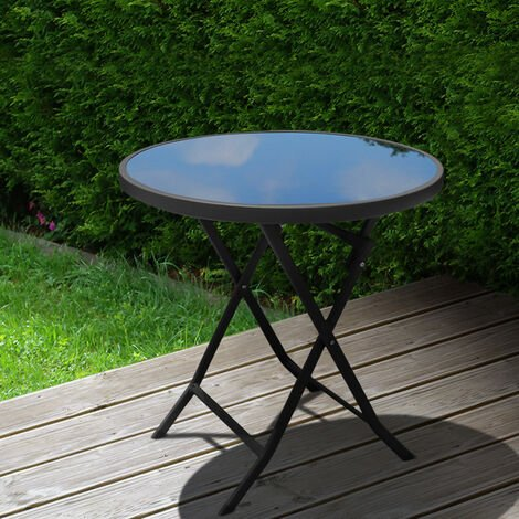 Outdoor Folding Round Garden Coffee Table, 60x60x70CM