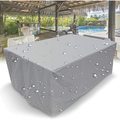 """main image of """"Outdoor Furniture Cover, 210D Rectangular Waterproof Protective Cover with Drawstring for Garden Furniture Patio Table Furniture Cover Silver, 170x94x70cm"""""""