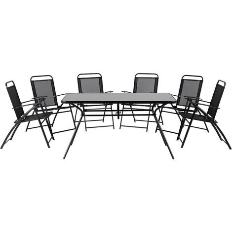 Outdoor Garden 7 Piece Dining Set Table 6 Chairs Black Livo