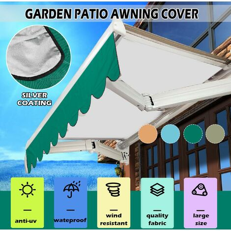Outdoor Garden Awning Cover Waterproof Sun Shade Canopy (Dark Green, 2.5m by 3m)