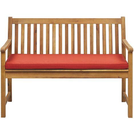 "main image of ""Outdoor Garden Bench Certified Acacia Wood 120 cm Red Cushion Vivara"""