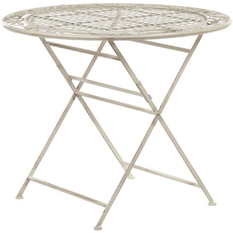 """main image of """"Outdoor Garden Bistro Table Foldable 90 cm Distressed Metal Off-White Bovio"""""""