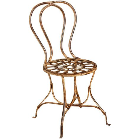 Outdoor garden dining Chair in wrought iron antique cream finish