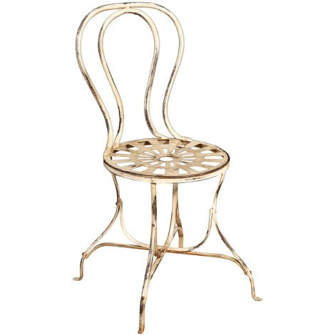 Outdoor garden dining Chair in wrought iron antique white finish