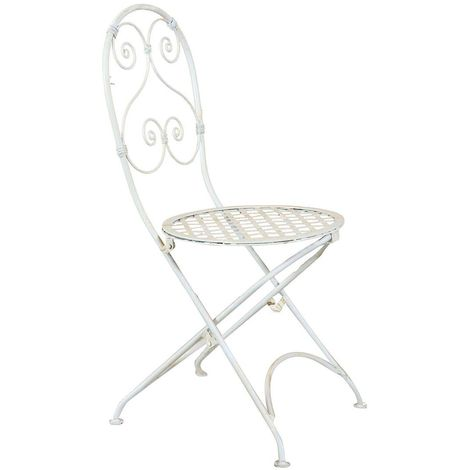 Outdoor garden dining folding Chair full wrought iron white finish 40x45x94 cm