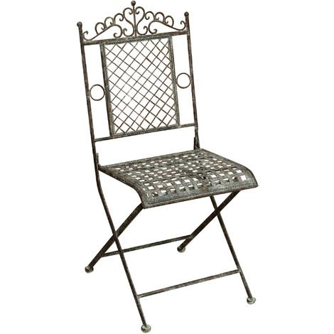 Outdoor garden dining folding Chair in wrought iron antique rust finish 96x49x41 cm