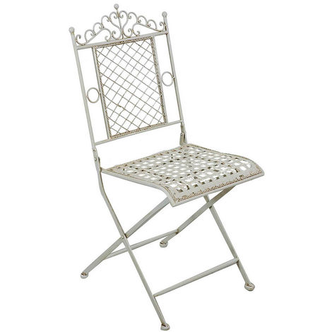 Outdoor garden dining folding Chair in wrought iron antique white finish 41x49x96 cm