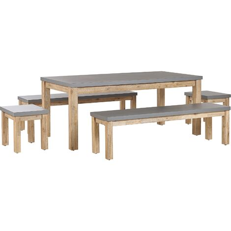 Outdoor Garden Dining Set Fibre Cement Dining Table 2 Benches 2 Stools 8 Seater Grey Ostuni