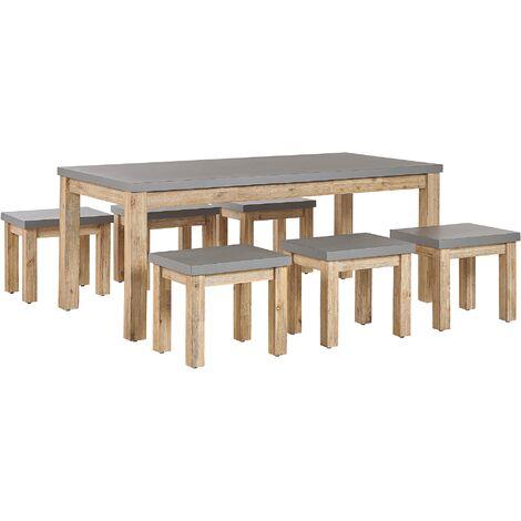 Outdoor Garden Dining Set Fibre Cement Dining Table 6 Stools 6 Seater Grey Ostuni