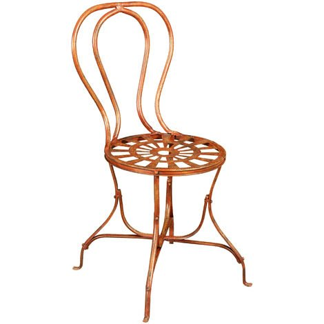 Outdoor garden dining wrought iron Chair antique red finish