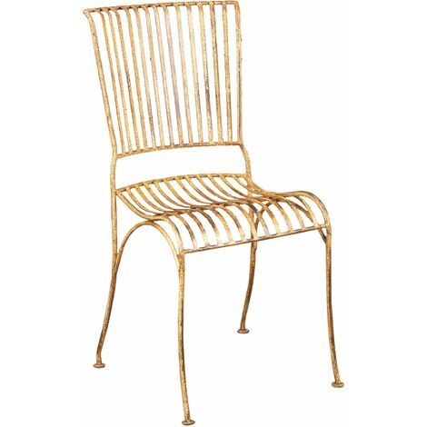 Outdoor garden dining wrought iron Chair with antique cream finish