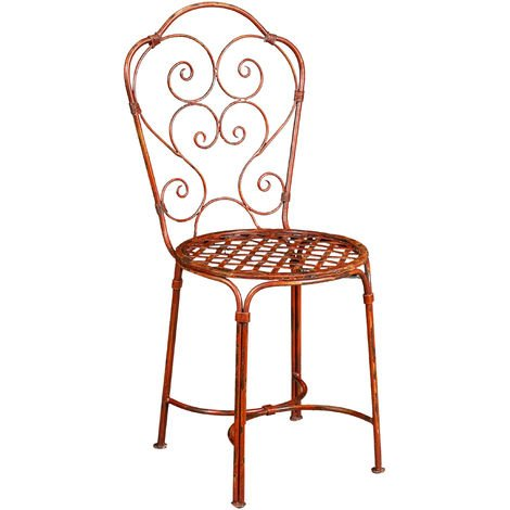 Outdoor garden dining wrought iron Chair with antique red finish