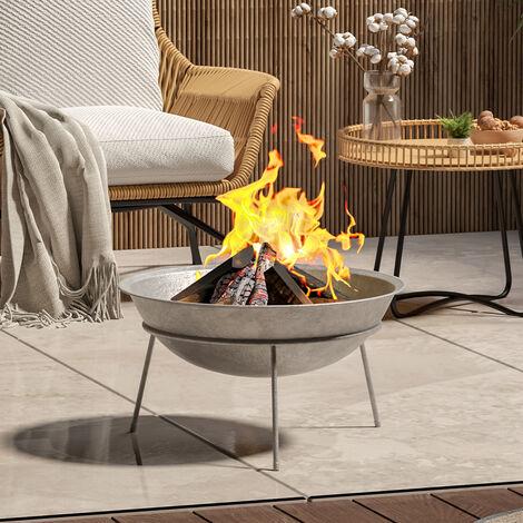 Outdoor Garden Firepit Round Fire Pit BBQ Grill Heater, 120CM